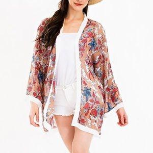 NEW Tropical Floral Sheer Tan Kimono Cover up